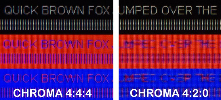 chroma 4:4:4 vs chroma 4:2:0